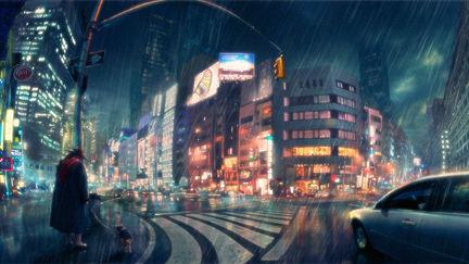 Rainy wideangle city night