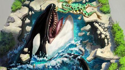 Killer whale eating frog