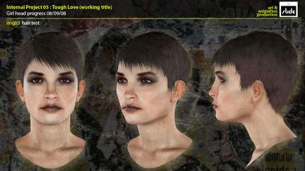 female head render test for Tough Love illustration.