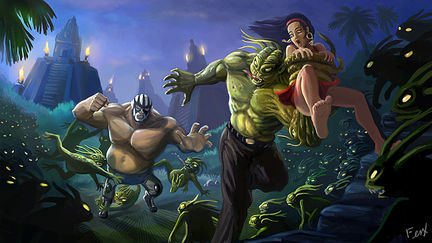 """Luchador"" versus Mayan devil"