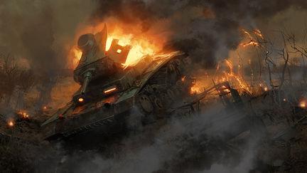 The burning tank