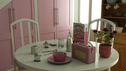 pink kitchen table