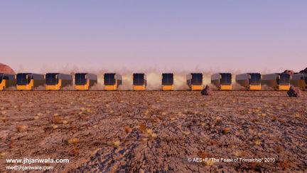 Buses in Desert