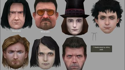 10 famous heads, a texturing/modeling study.