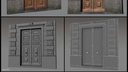 Old building door