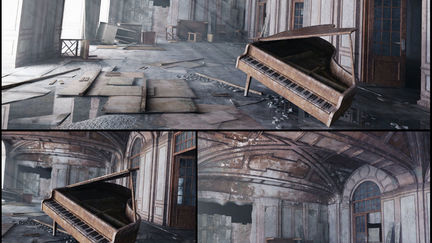 Old piano in an old room