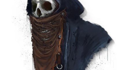 skull in wrecked cloths