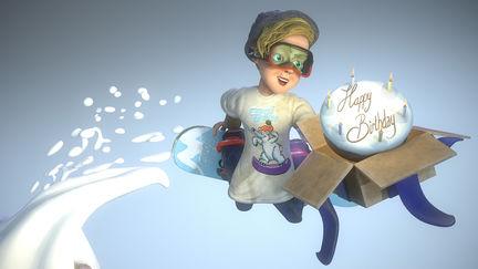 Birthday snowboarder