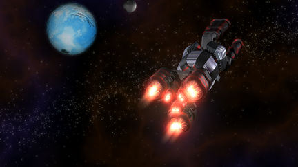 Black and Red Space Ship in Action in Space