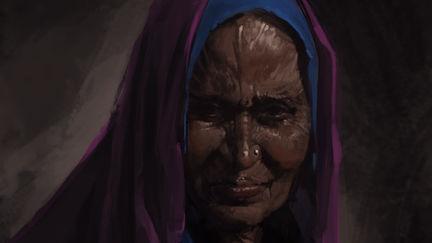 Vishnuite woman sketch (+ process)