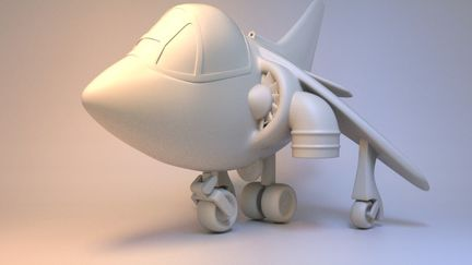 Cartoon Harrier Jump Jet for 3d Printing