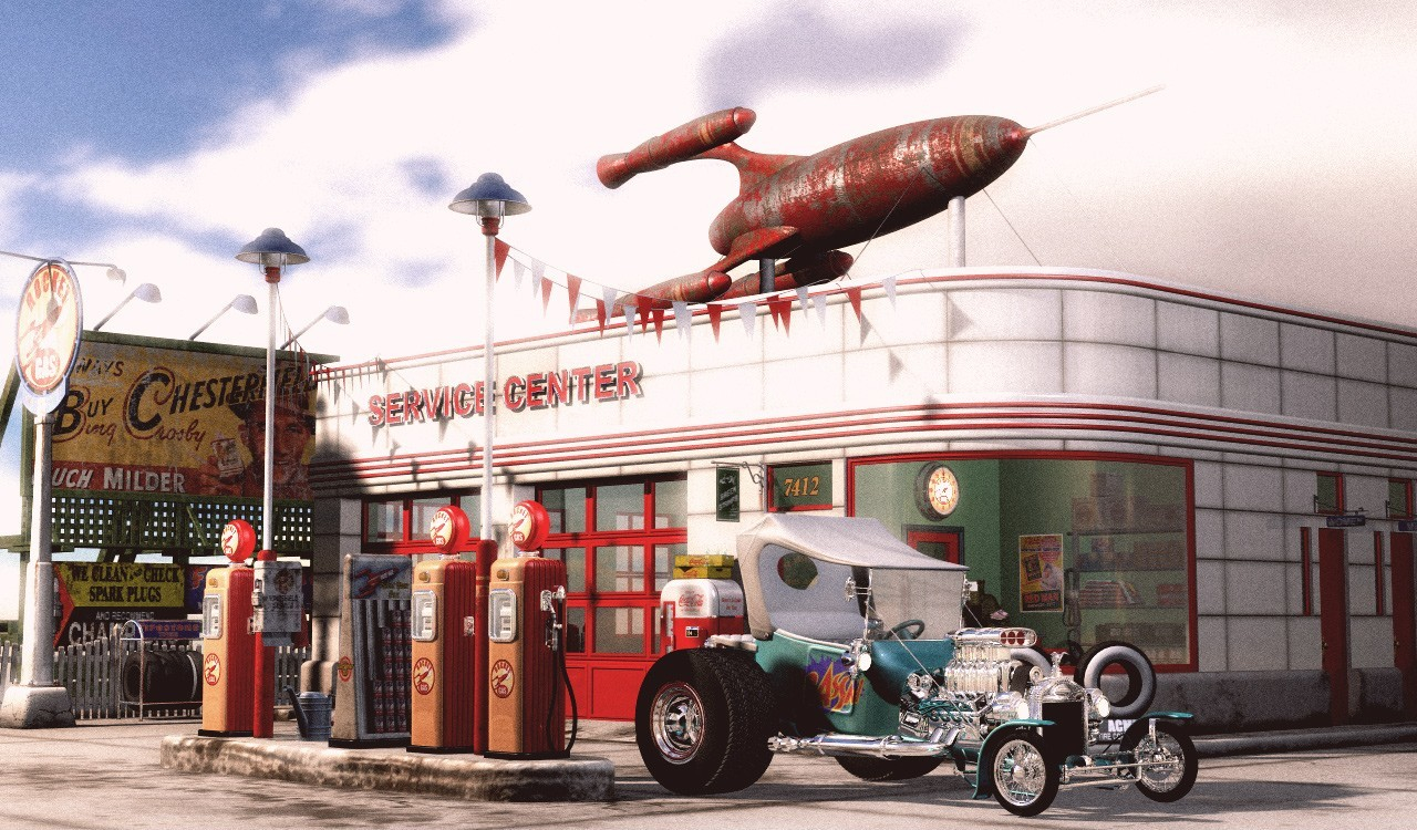 1950 S Gas Station By Gitch 3d Cgsociety