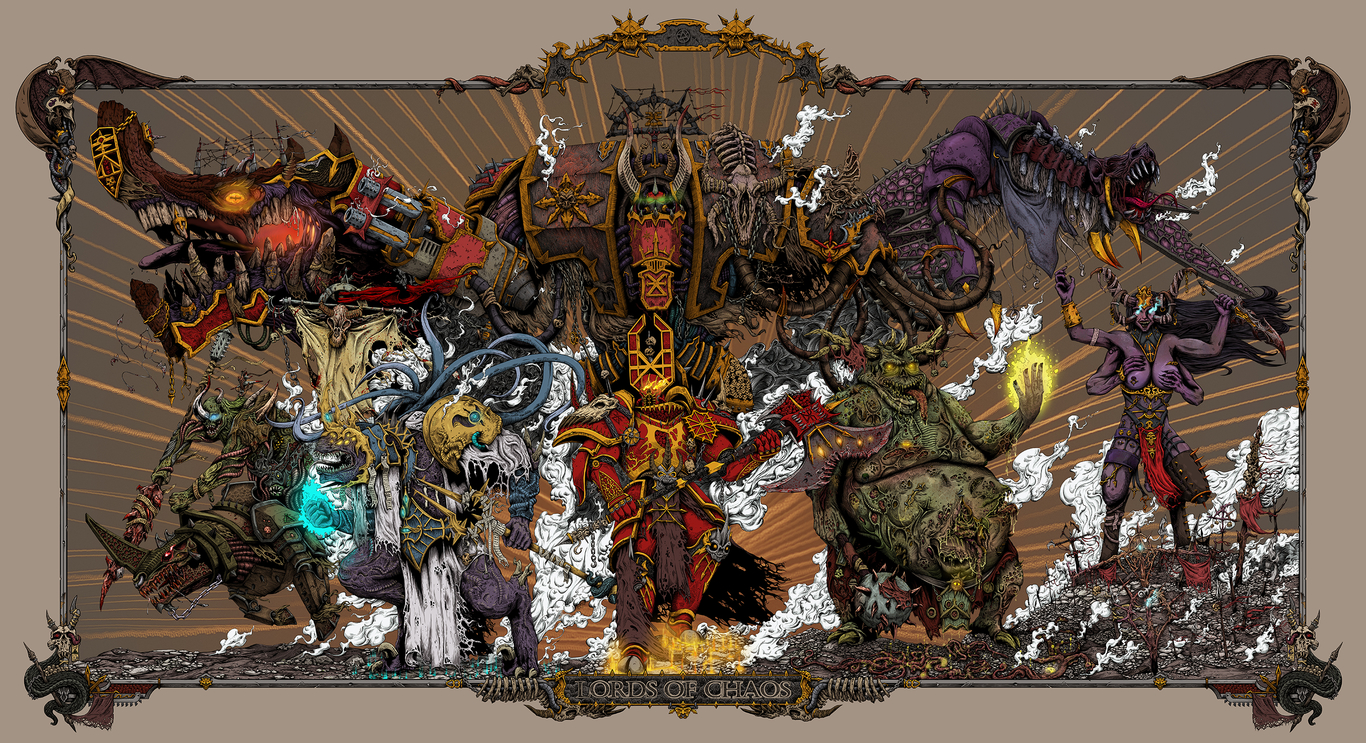 Lords of Chaos. Warhammer 40k poster. Final edition.