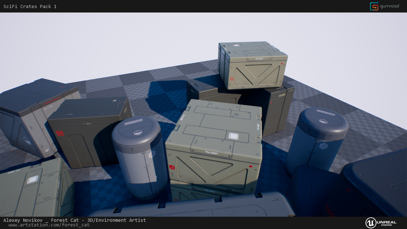 UE4] SciFi Crates Pack 1 by ForestCat | Sci-Fi | 3D | CGSociety