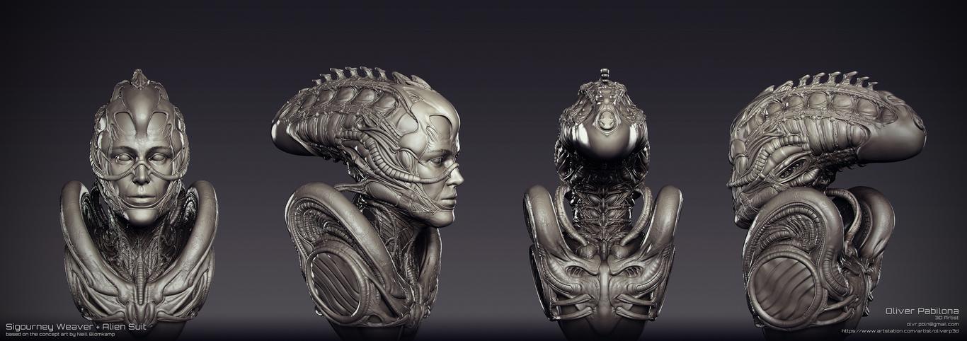 Segourney Weaver - Alien Suit - Sculpt WIP02