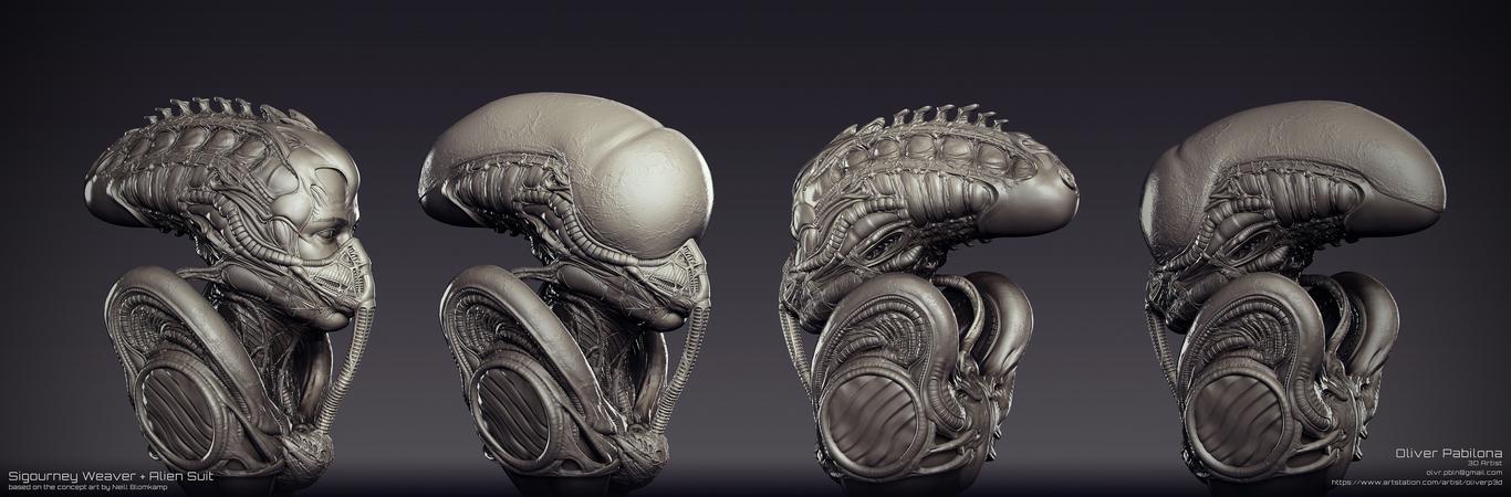 Segourney Weaver - Alien Suit - Sculpt WIP03